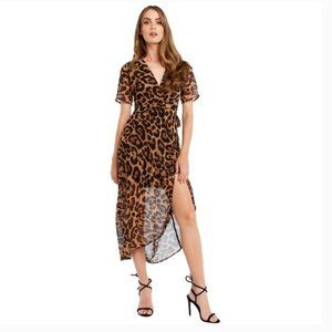 Bardot brown and black leopard-print wrap dress